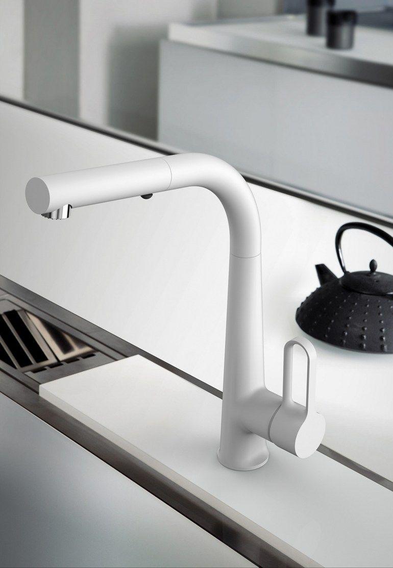 Countertop brushed-finish kitchen mixer tap SKINNY F7026 | Brushed ...