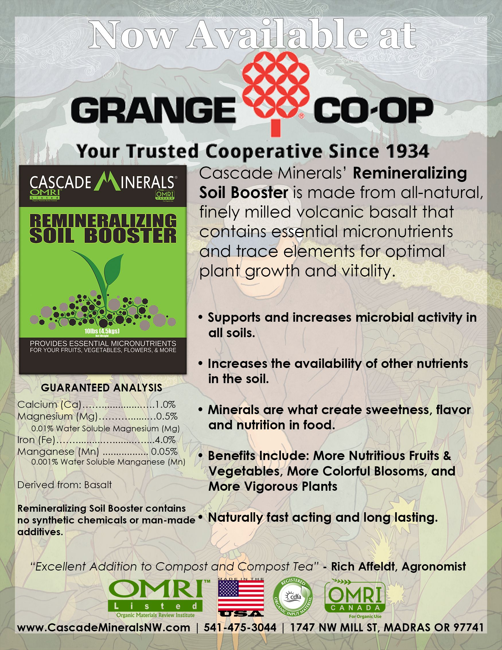 Cascade Minerals Remineralizing Soil Booster is available