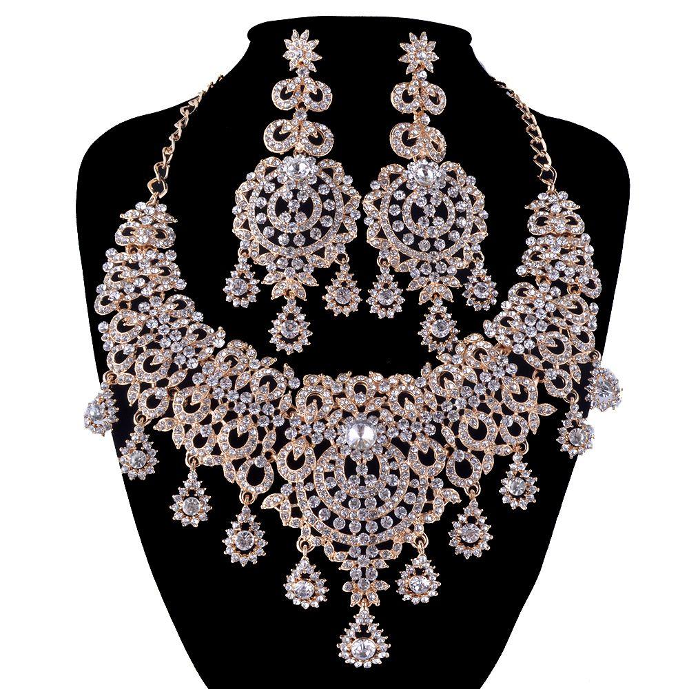 골드 보석 신부 목걸이 귀걸이 여성 웨딩 파티 드레스 문 목걸이 러시아어 패션 스타일 귀걸이