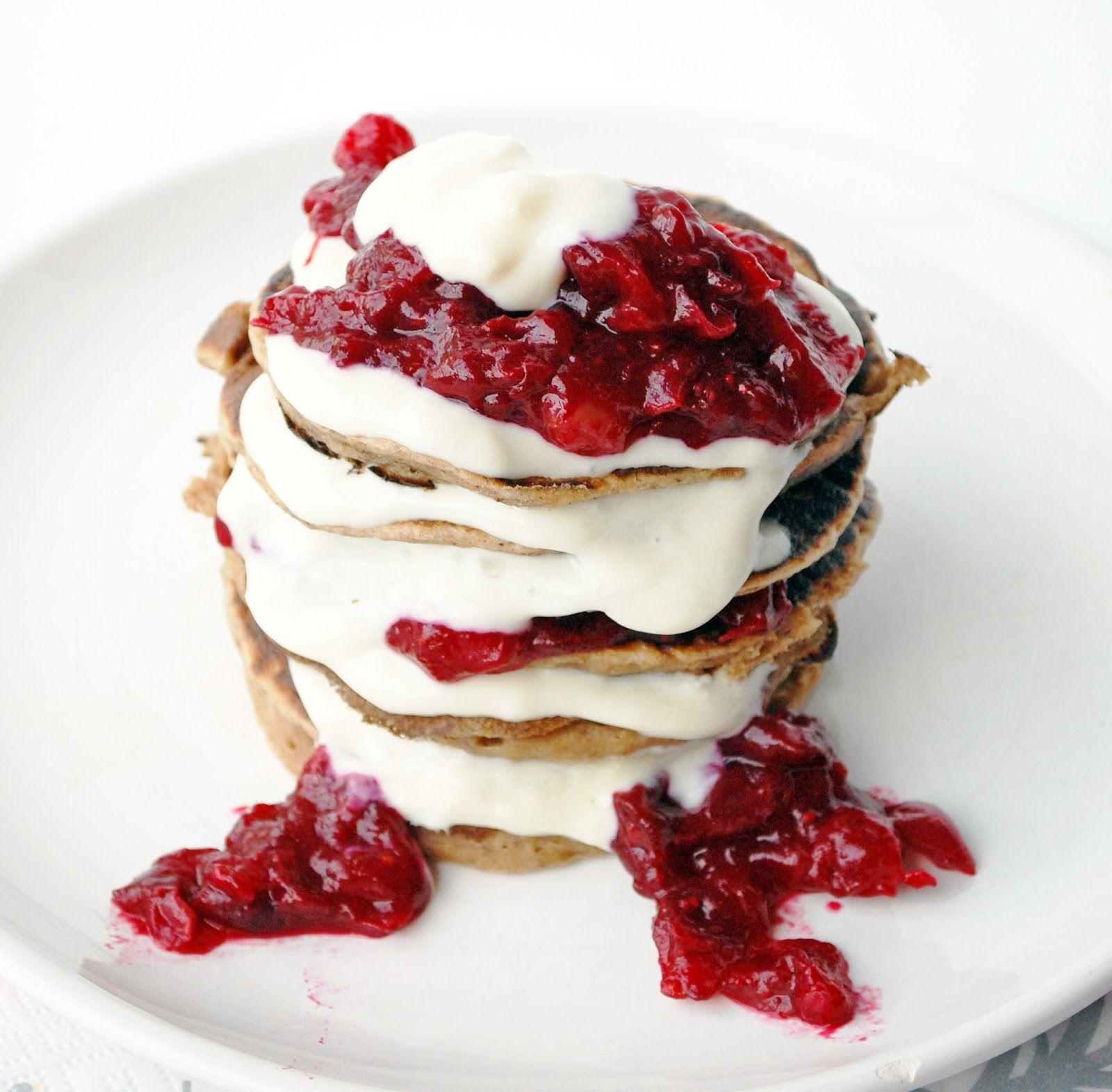 Sweet chestnut pancakes with cranberry compote