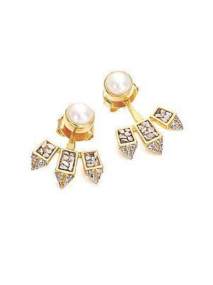 Shana Gulati Diamond & 18K Yellow Gold Marit Ear Jacket & Whit