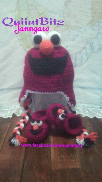 Elmo conjunto a crochet. Gorro y zapatitos para bebé.