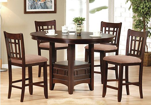 Benton Espresso 5pc Counter Height Dining Room Round Pub Table Dining Room Sets Rooms To Go Furniture