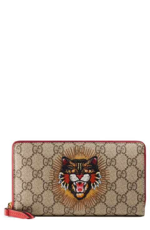 1f0d849b1e2 Gucci Embroidered Angry Cat GG Supreme Canvas Zip Around Wallet