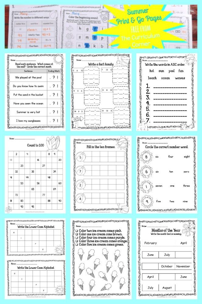 Summer Print & Go Pages | Summer worksheets, Worksheets and Curriculum