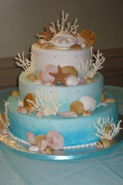 Pearls And Cookie Shells Beach Wedding Cake Sea Cakes Beach