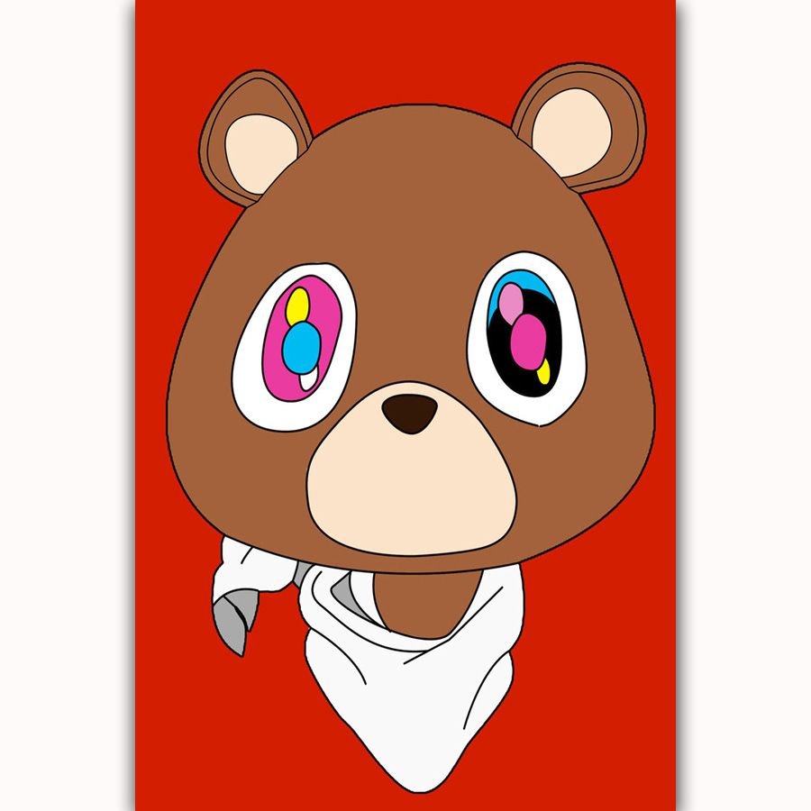 Kanye West Hip Hop Rap Music Bear Star Cover Silk Canvas Poster Home Decoration Wall Picture Print Price 11 Music Poster Design Poster Art Music Poster Ideas