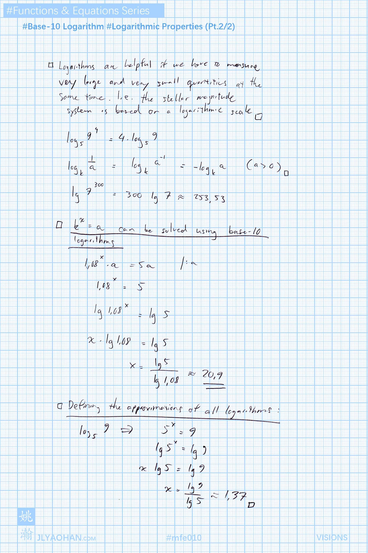Base 10 Logarithm Logarithmic Properties Logarithmic