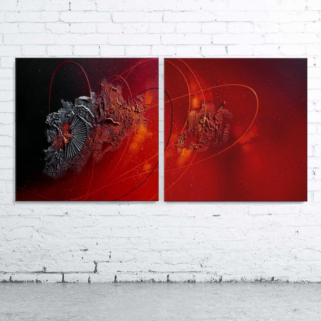 Tableau abstrait diptyque contemporain toile design peinture acrylique en relief noir rouge ...
