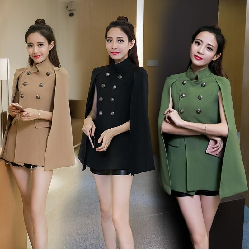 9944c174c94 Fashion Cloak Cape Blazer Women Black Khaki Lapel Split Long Sleeve Ja – Easy  Pickins Store