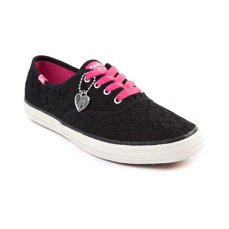 womens keds champion vintage lace casual shoe black pink