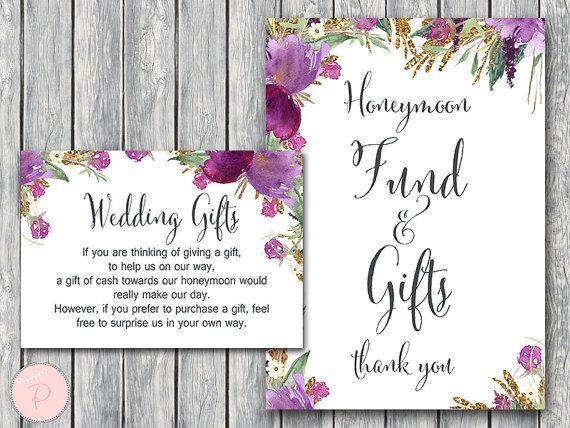Purple Wedding Gift Honeymoon Fund Card And Sign By BrideandBows
