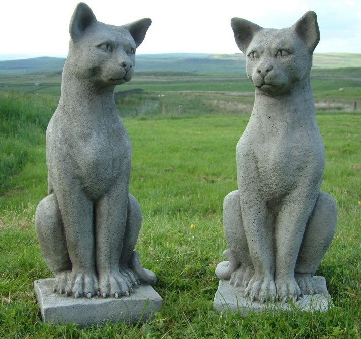 Pair of solid cast stone cat garden statues each stands half a pair of solid cast stone cat garden statues each stands half a metre high workwithnaturefo