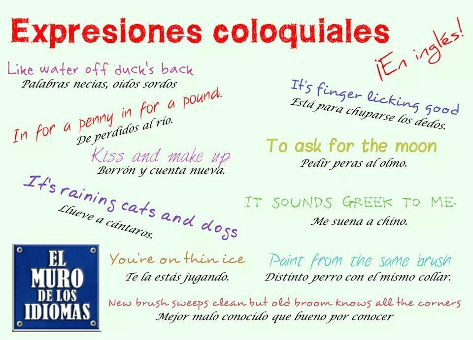 Frases Hechas španělština Expresiones En Ingles Ingles