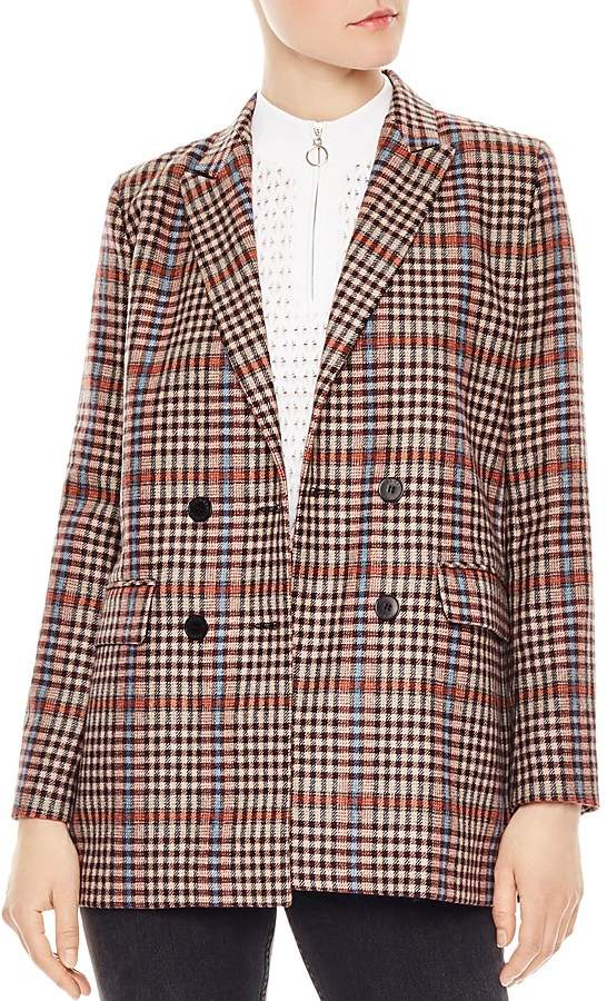 Sandro Solution Checked Double Breasted Blazer | Plaid
