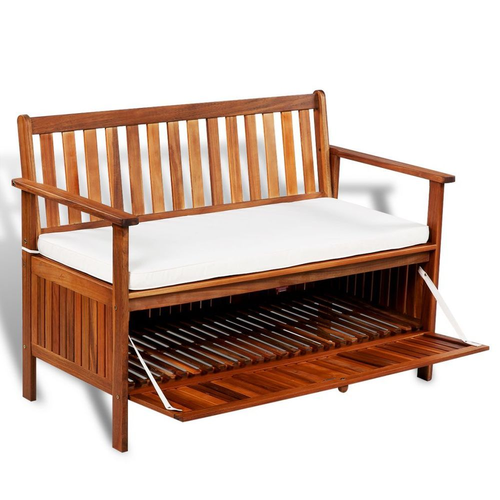Super Garden Storage Bench Wooden Patio 2 Seater Sofa Seat Cushion Gamerscity Chair Design For Home Gamerscityorg