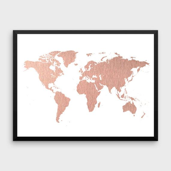 Gold World Map Poster.Rose Gold World Map Poster Large World Map Print Faux Foil Map