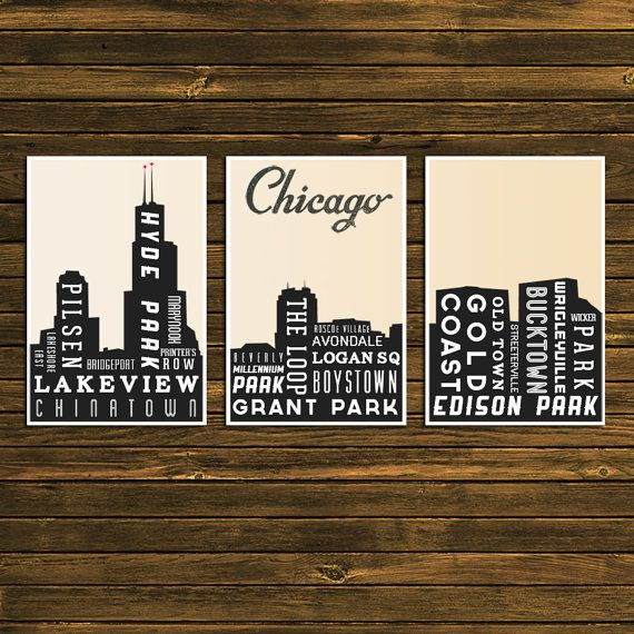 Home Decor Stores Chicago: Skyline Poster, CHICAGO Art, Home Decor, Typography Print