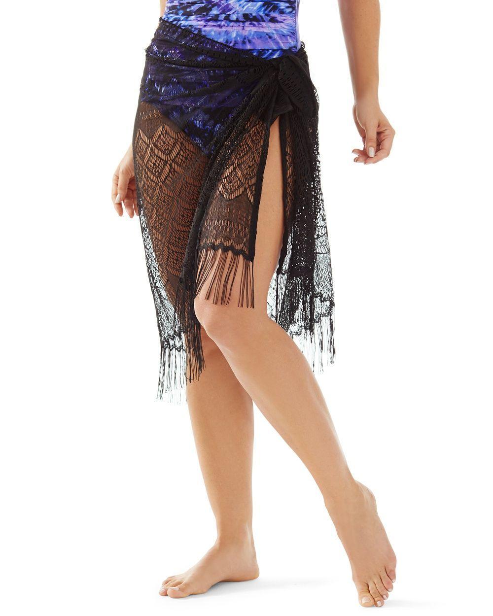 0bd385067e Chico's Women's Miraclesuit Fringe Sarong, Black, Size: One Size ...