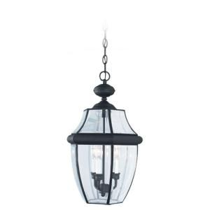 Sea Gull Lighting Lancaster 3 Light Black Outdoor Hanging Pendant