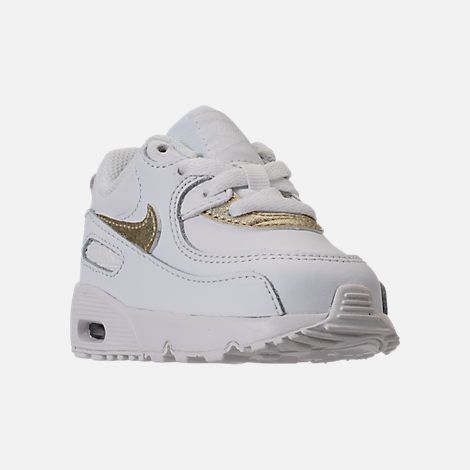 Three Quarter view of Girls  Toddler Nike Air Max 90 Leather Running Shoes  in Summit White Metallic Gold Star 78bb57b4f