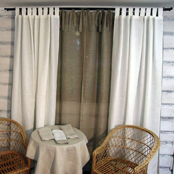 Linen Curtain Panel White Tab Top 52x84 Eco By Crystalnatalina