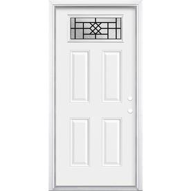 Masonite 1 4 Lite Decorative Glass Left Hand Inswing Primed Steel Prehung Entry Door With Insulating Core Common 36 Entry Doors Glass Decor Steel Entry Doors