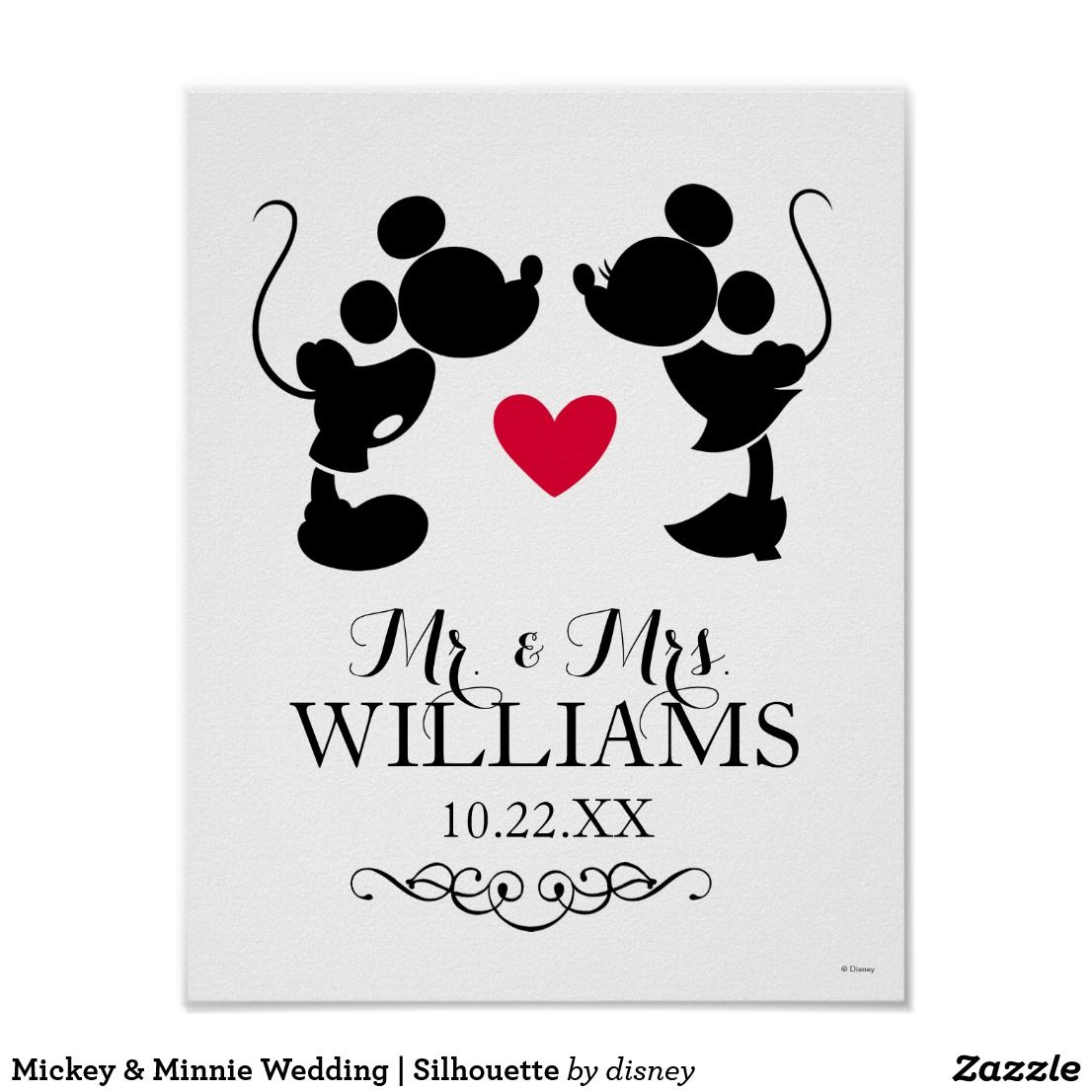 Mickey & Minnie Wedding | Silhouette Poster | Wedding Ideas, Favors ...