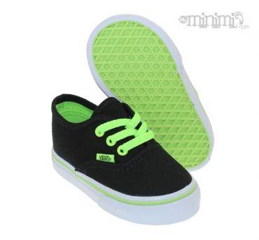 vans noir et vert fluo