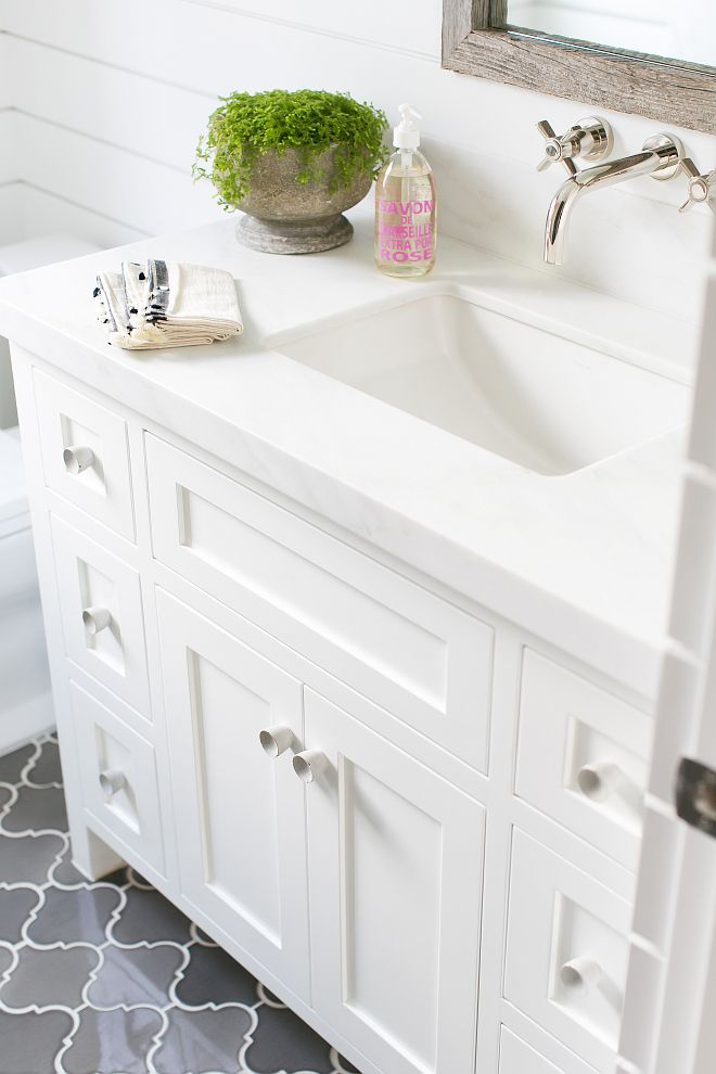 The Bathroom Countertop Is Pacific White Marble Slab The Bathroom - Marble slab bathroom