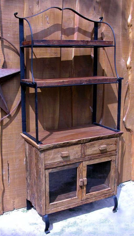Iron Frame W Wood Indoor Outdoor Antique Style Bakers Rack