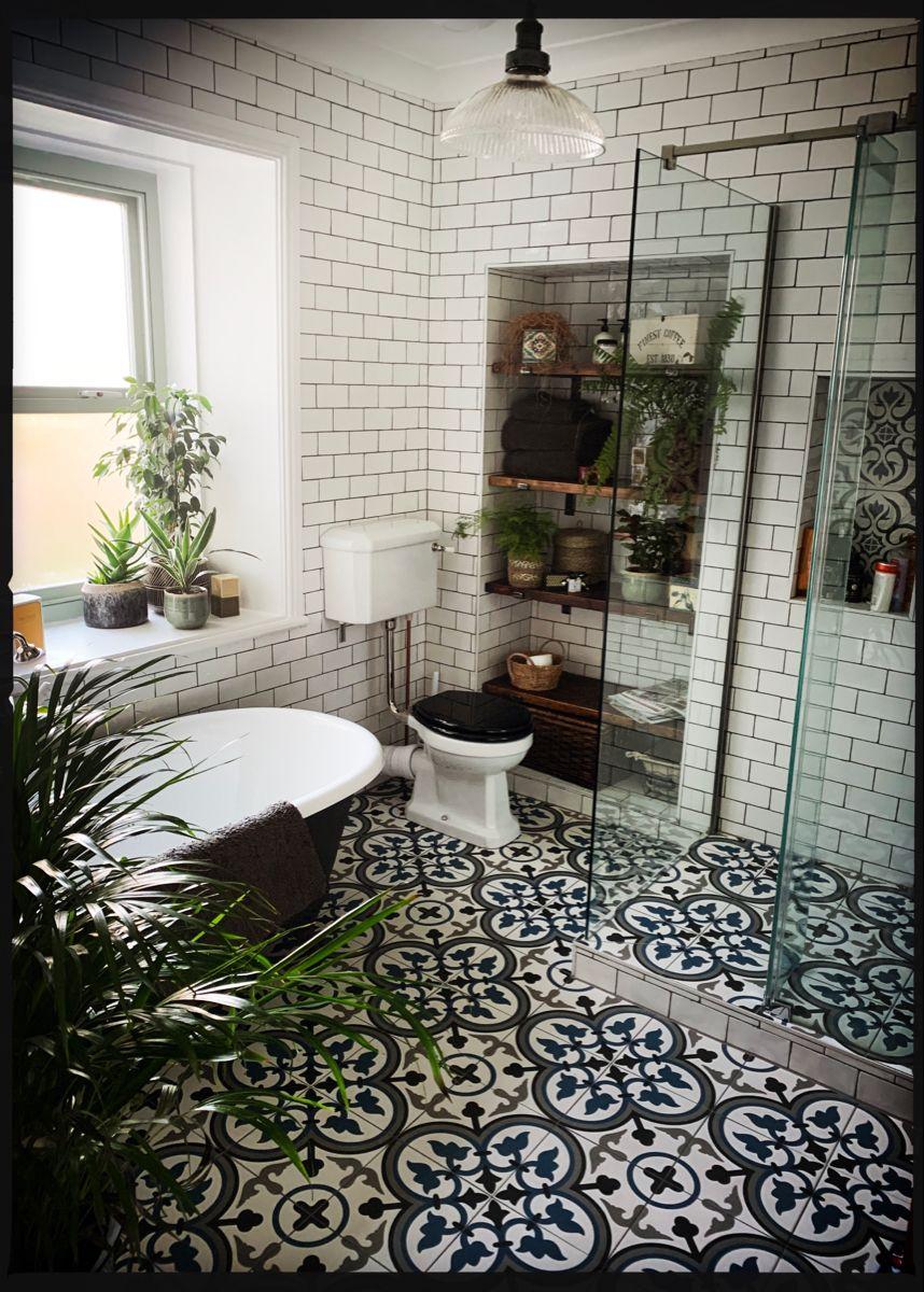Tiled bathroom with plants in 20   White brick tiles bathroom ...