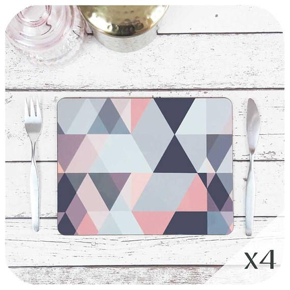 Best Geometric Placemats In Blush Pink And Grey Set Of 4 400 x 300