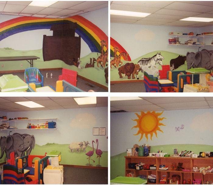 Classroom Mural Design ~ Noah s ark classroom decor wall mural