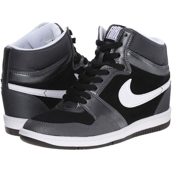 separation shoes e23f3 35069 Nike Force Sky High Sneaker Wedge Women s Shoes, Gray ( 68) ❤ liked on  Polyvore featuring shoes, grey, nike footwear, grey platform shoes, grey  patent ...