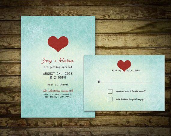 Ombre Wedding Invitation Modern Design DIY Digital Printable Aqua Teal Red