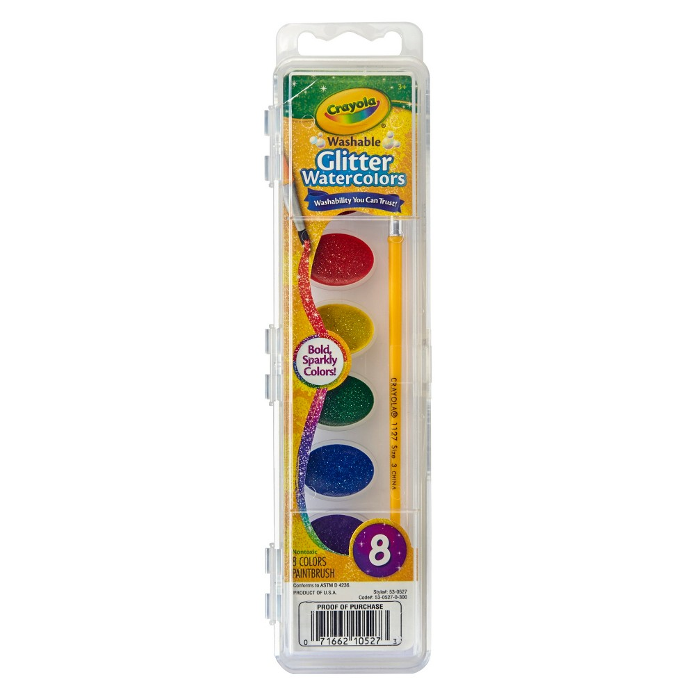 Crayola Glitter Watercolor Paints With Brush 8ct Crayola Art