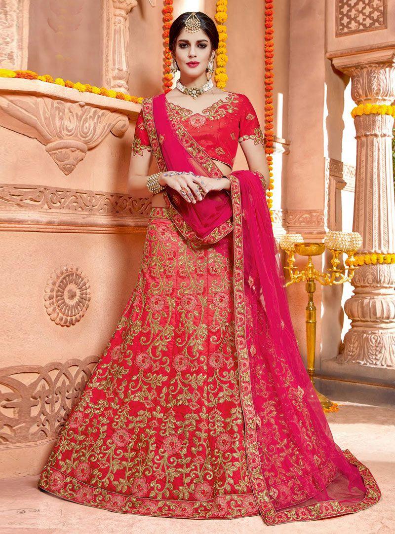 1bcff766f3 Izabelle Leite Pink Taffeta Silk Embroidery Work A Line Lehenga Choli 124834