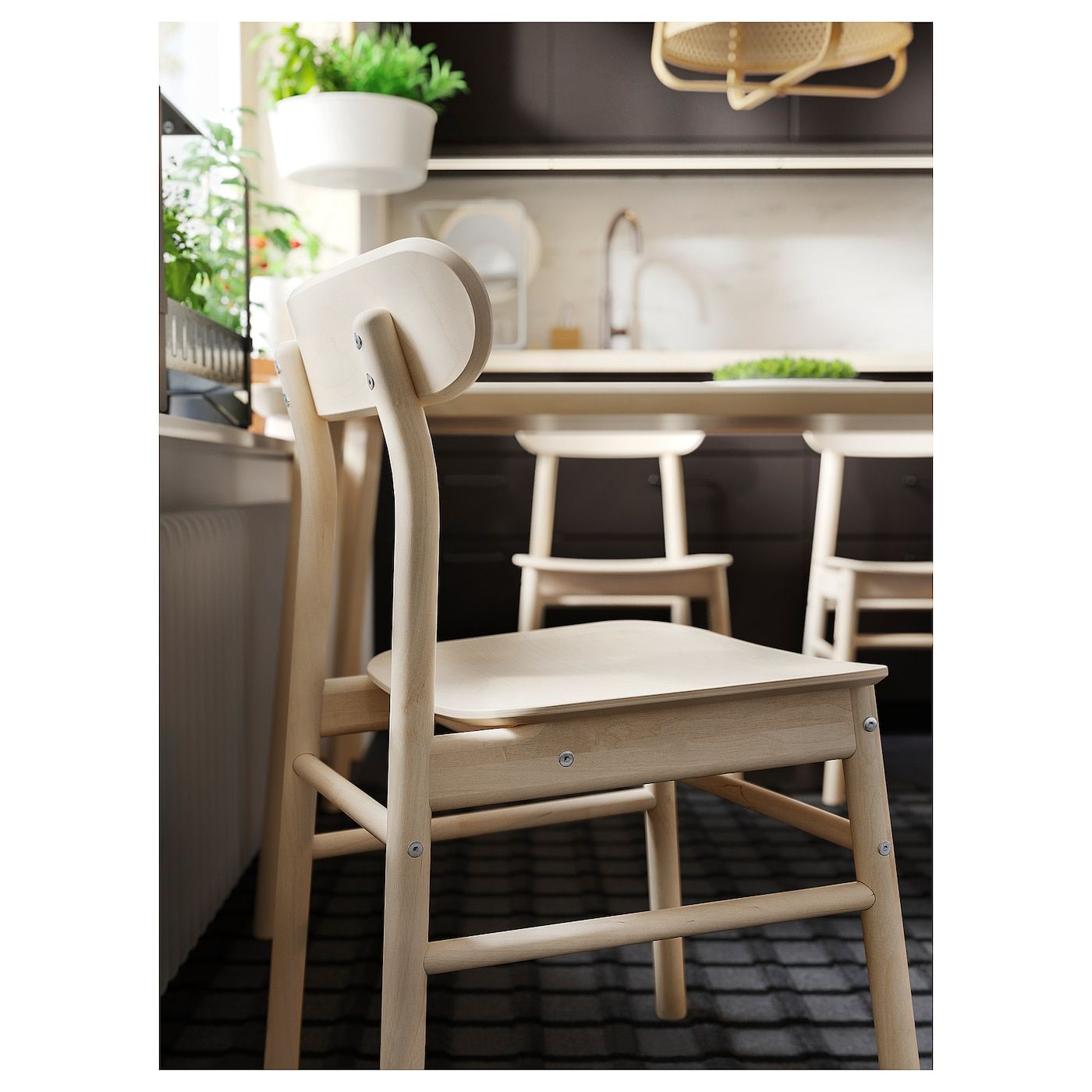 Rustic Hardwood Flooring Tips And Suggestion: IKEA NORDVIKEN / RONNINGE White, Birch Table And 4 Chairs