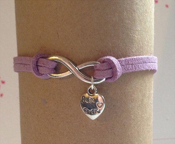 Silver infinity best friend charm suede bracelet  by Jrew on Etsy, $3.99