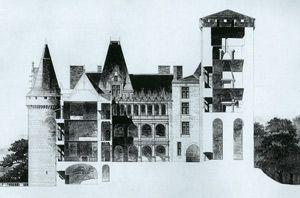 Chateau de la Rochefoucauld, coupe sur le donjon, datant de 1883.- II) Architecture, 3: LES GRANDES DATES: 1520: ANNE DE POLIGNAC fait construire les galeries et de grand escalier dans le style de la Renaissance et dont le dessein est attribué à Léonard de Vinci. - 1615: ouverture de la cour et démolition de la partie médiévale du château. - 1760: reconstruction de l'aile 18°s remplaçant l'aile du 17°s qui avait brûlé.