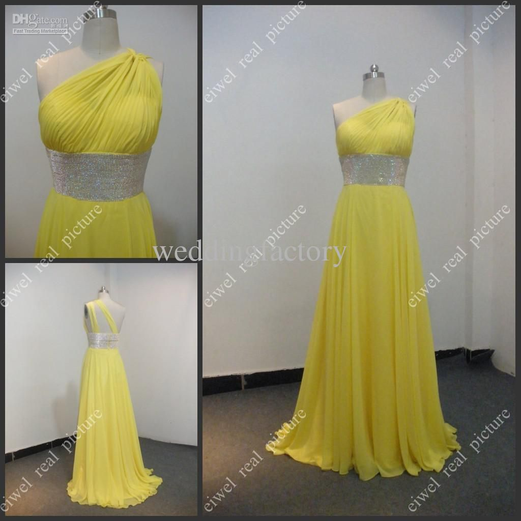 One shoulder bridesmaid dresses a line floor length yellow chiffon one shoulder bridesmaid dresses a line floor length yellow chiffon corset ladies wedding party gowns black ombrellifo Image collections