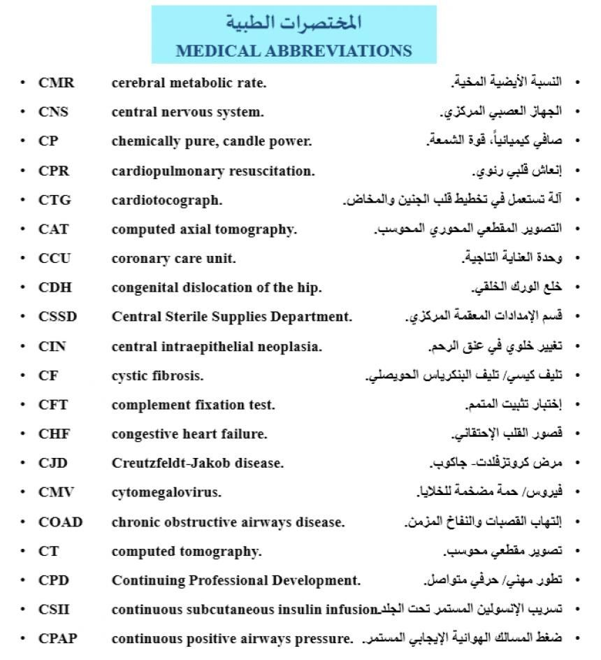Medical Terms Abbreviations المصطلحات والمختصرات الطبية Central Nervous System Cardiopulmonary Resuscitation Nervous System