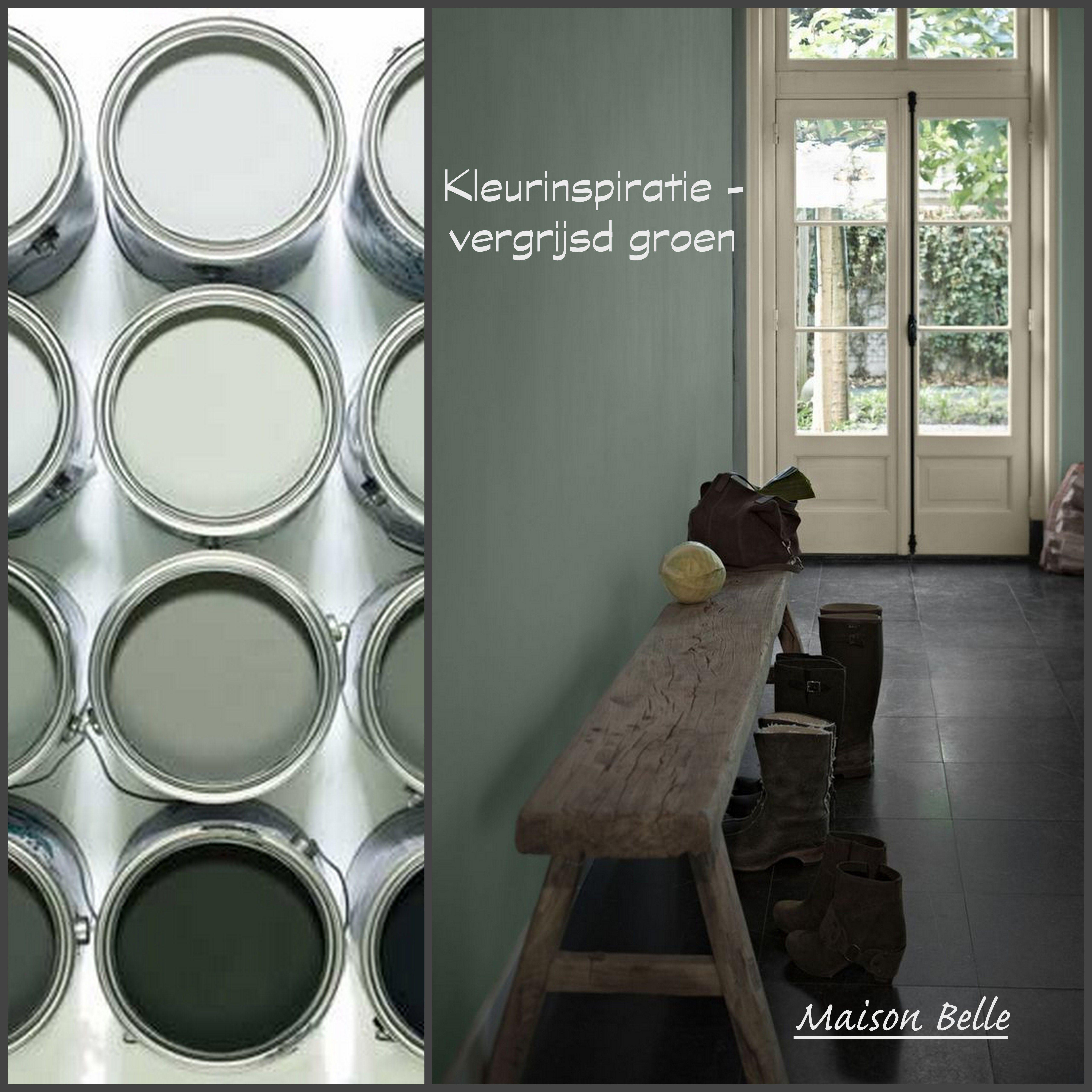 Kleurinspiratie vergrijsd groen  Muur huis  Woonkamer