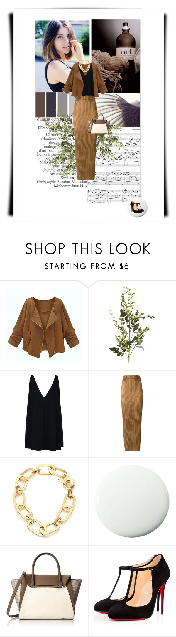 """Elegant in Brown"" by doris-knezevic ❤ liked on Polyvore featuring Beauty Secrets, Seed Design, Pier 1 Imports, STELLA McCARTNEY, Iris van Herpen, Michael Kors, Pure Home, Vince Camuto, Christian Louboutin and women's clothing"