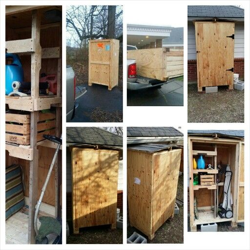 Photo of Large shipping crate turned into outdoor tool storage. Just add pitched roof and…