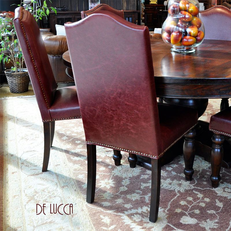 De Luccared Leather Dining Room Chairs  Tuscan Decor Dining Stunning Dining Room Chairs Red Design Ideas