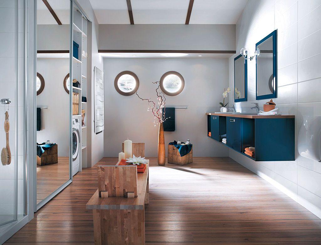 Salle de bain blanc bleu bois bateau | Deco mur | Salle de bain bleu ...