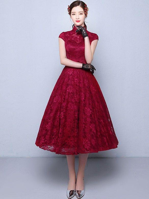 Tea Length Red Bridesmaid Dresses