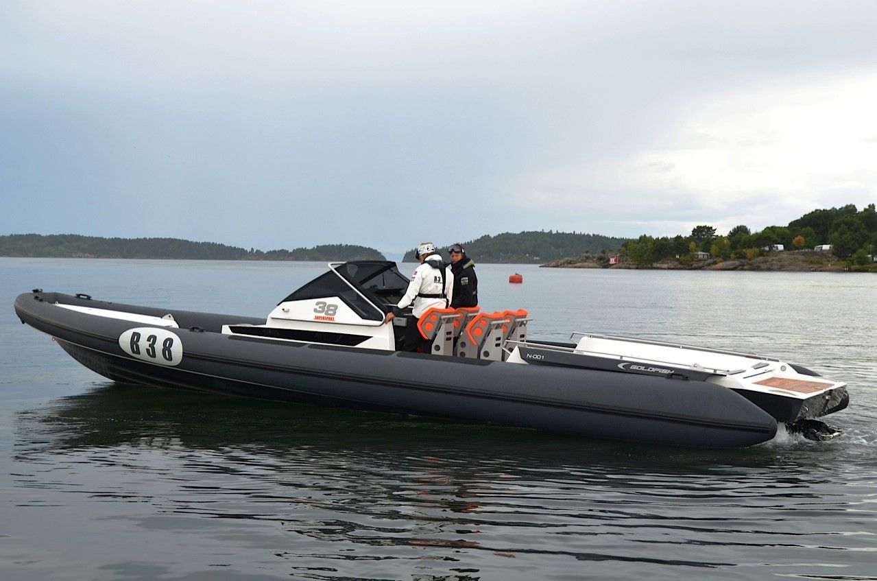 The new 38ft Rib from Goldfish boat, awesome to have done ...